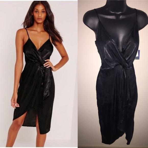 992df068eb8c2 Missguided Dresses | Black Satin Wrap Midi Dress Sz 4 | Poshmark